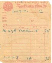 Image of Receipt - Montgomery Ward 1931 muslin