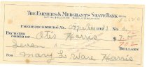 Image of Cancelled check to Otis Harris