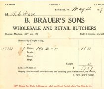 Image of Receipt B Brauer's Sons