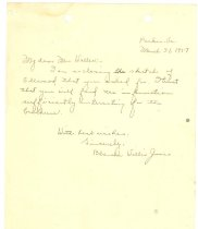 Image of Note from Blanche Willis Jones - Ellwood