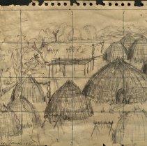Image of Wichita Indian Village Sketch - 2003.020.001
