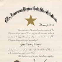 Image of Gold Star Citation - American Legion - Jack Krieger