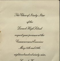 Image of Invitation-LHS, Class of 1899