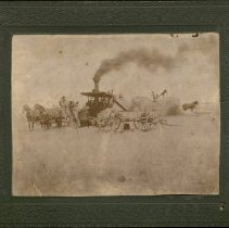 Image of Steam Thresher in Wheat Field