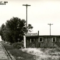 Image of Santa Fe Depot, Sanford, Kansas - 1969. - 1969