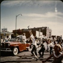 Image of Ft Larned - Centennial Parade - Red Convertible - 06/1959