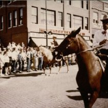 Image of Ft Larned Centennial Parade - Horse Back Rider - 06/1959
