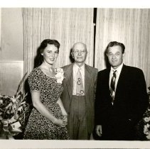 Image of John Schnack, Milburn Stone, and Young Woman. - 06/1959