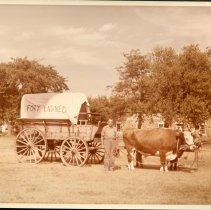 Image of Fort Larned Centennial - Covered Wagon with Oxen - June 1959