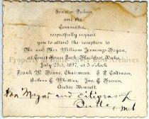 Image of Invitation to William Jennings Bryan reception, 1897