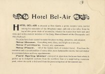 Image of Hotel Bel-Air Pamphlet, page 1