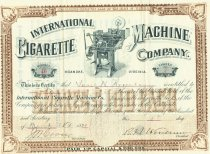 Image of International Cigarette Machine Company Stock Certificate