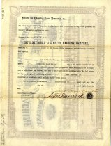 Image of International Cigarette Company Stock Certificate, back