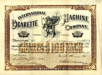Image of International Cigarette Company Stock Certificate, front
