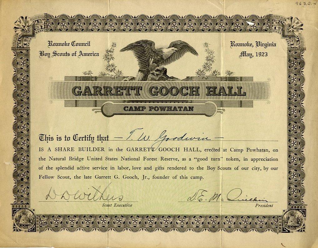 Garrett gooch hall camp powhatan roanoke council boy scouts of garrett gooch hall camp powhatan roanoke council boy scouts of america certificate of appreciation may 1923 yadclub Images