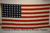Image of American flag with 48 stars. - American flag with 48 stars. Made of moth-proof cloth by Bull Dog Bunting-Dettras Flag Products. 20th century. Burial flag for Vernon Bandy Gish who served in the U.S. Army during World War I. He served with the 2nd Battalion, 116th Infantry, and was awarded the Purple Heart.