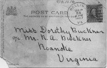 Image of Postcard of East Building. Hollins, VA, back