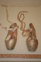 Image of Ballet Shoes - Pink satin ballet shoes with ribbon ties. Late 19th/Early 20th century.