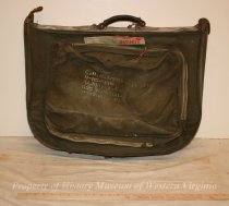 Image of Army luggage. - Army suitcase made of green canvas and leather. Belonged to Major E.H. Hammersley, Jr. Mid-20th century.