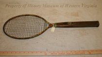 Image of 1920's Tennis Racket - 1920s - 30s wooden tennis racket. Wooden handle with iron rim and wire mesh. Was once painted.