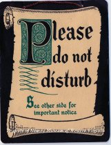 "Image of ""Please Do Not Disturb"" Sign from Hotel Roanoke - This is a cardboard sign created especially for Hotel Roanoke. It is light brown with dark brown writing, and has green decor on the front. A pink piece of yarn is attached to it by way of two holes in the top. It is tied off so it can hang over a doorknob. Two notices from the Hotel Roanoke management advise guests to lock their doors in the evenings, and to hang this sign on the doorknob if they do not want to be disturbed."