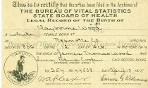 Image of Birth Certificate for Claiborne Wood, front