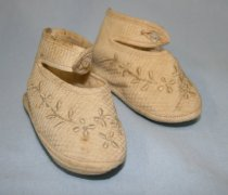 Image of Baby shoes - Cloth Baby Shoes  with embroidered design and pearl button.