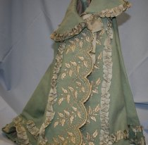 Image of Wool Cape - Blue wool cape worn with wedding gown.