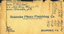 Image of Envelope containing photographs etc. of May Day at Virginia College 1916-1923. - 1916-1923