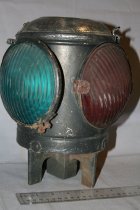 Image of Switch signal lantern, self standing lantern with 2 green, 1 red, and 1 clear reflectors. The top opens.