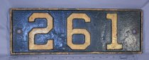"Image of Cast iron switch number plate with #261 in raised format. Numbers & trim are gold, plate is black. 2 bolt hoses (3/8"")."