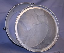"Image of Circular bulb screen with metal rim with 6 screws. Middle area = stretched transparent ""flax"" with fibers. This is from trunk number two."
