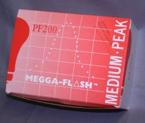 Image of Box of Mega Flash Bulbs (9 total). Box labled PF200 Mega-Flash - Carboard red with white writing.Gives directions for film and shutter speed. Bulbs are silver wirey clumps inside.