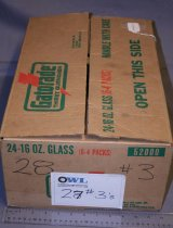 Image of Box of Super flash No. 3 class S (slow peak) flashbulbs. Cardboard Gatorade box filled with sylvania wabash superflash No. 3 class  S (slow peak) flashbulb. Bulbs inside cardboard boxes that identify them - black with yellow writing.