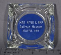 "Image of Glass Ashtray, square with blue background with ""MAD River; NKP Railroad Museum, Bellevue, Ohio."