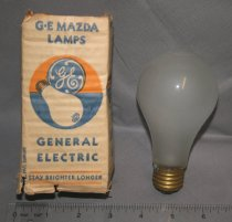 Image of One regular GE Mazda Lamp Bulb, frost; in cover.