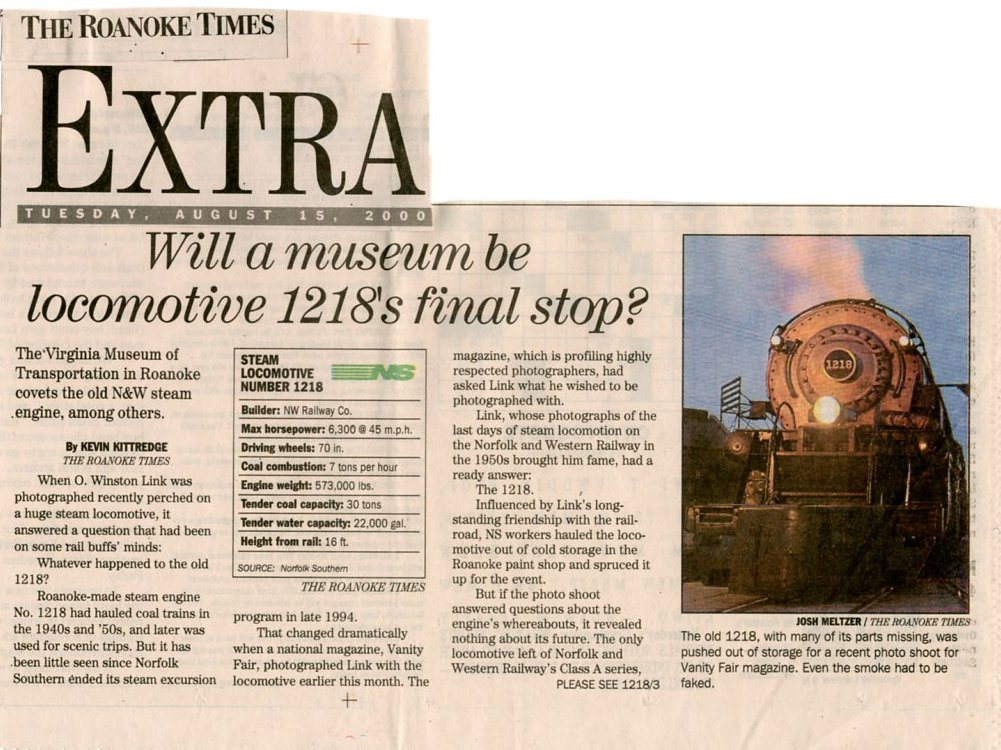 Will A Museum Be Locomotive 1218's Final Stop? - August 15, 2000