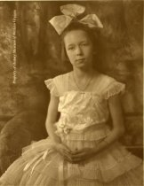 Image of natalie Horton Roberts - A black and white portrait of Natalie Horton Roberts taken ca. 1920. Natalie is dressed in a dancing class recital dress.