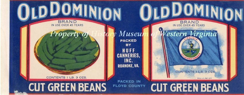 Old Dominion Cut Green Beans Label - Circa 1950