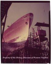 "Image of ""Praw of N. Dakota"" ship, has Texaco logo on bow"