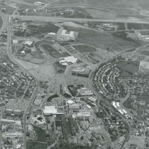 Image of UNRA-P1061-1 - Photograph of aerial view of campus, with North Virginia Street and Evans Avenue on the west and east sides of campus; new section of I-80 at bottom of photo