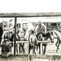 """Image of UNRA-P3426-0129 - Mural of cowboys at a hitching post, with buildings across the street in the background (undated) -  from an """"early murals"""" envelope"""