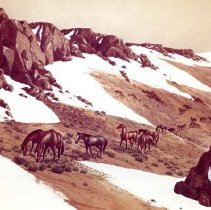 """Image of UNRA-P3426-0151 - """"Rimrock Springtime"""" watercolor painting of a herd of horses grazing near snow (undated)"""