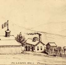 Image of UNRS-P0249-1 - Photograph of Deland's Mill, Flowery. Virginia, Nevada. Sketch of the exterior by CEL. Deland's Mill, Flowery. Virginia, Nevada. Sketch of the exterior by CEL. Photo by Sutterley Brothers.
