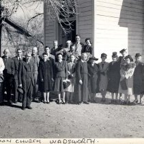 Image of UNRS-P1988-60-035 - Photograph of Union Church, Wadsworth [Gareth Hughes, front row center, with his congregation]  Please credit photo to Russell Fairbanks. [same photo as #5]