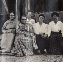 Image of UNRS-P2013-08-28 - The Craw family sisters; Pioche, Nevada; Daughters of Hyram and Imira Craw (both burried in Pioche); Left to Right: Emma Matle, Cecelia Succeth, Delora Hulse, Rose Harris, Phoebe Garrison;