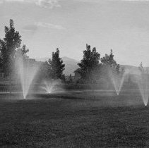 Image of UNRA-P482-068 - Sprinklers water the grass on the Quad with unidentified campus buildings in the background. The Quad was part of the beautification of the university campus funded by Clarence Mackay in 1908. The field that had sat to the north of Morrill Hall was turned into a grassy quadrangle complete with pathways on all sides and trees lining it to the east and west. It is still maintained today as one of the most beautiful parts of campus and is used for a variety of events, including spring commencement.