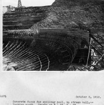 Image of UNRS-P2008-18-3570 - Concrete forms for spillway pool, upstream wall. Looking south. Camera at 7 + 75, N + 25. Lahontan Dam. October 2, 1912.