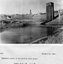 Image of UNRS-P2008-18-3811 - Northwest corner of dam showing tower house. Camera at E + 00, 11 + 00. October 12, 1914.