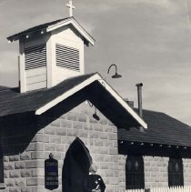 Image of UNRS-P1988-60-134 - Photograph of St. Mary's Protestant Episcopal Church, with Brother David, Nixon, Nevada. 134a.  St. Mary's Protestant Episcopal Church